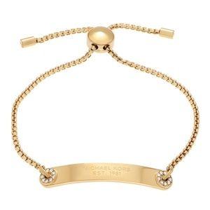 MK Pave Gold Logo Plaque Slide Bracelet NWT